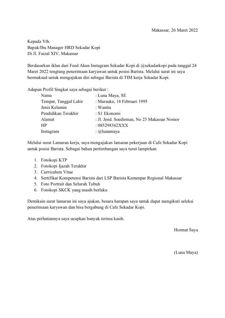 Contoh Surat Lamarna Kerja Sebagai Barista di Cafe