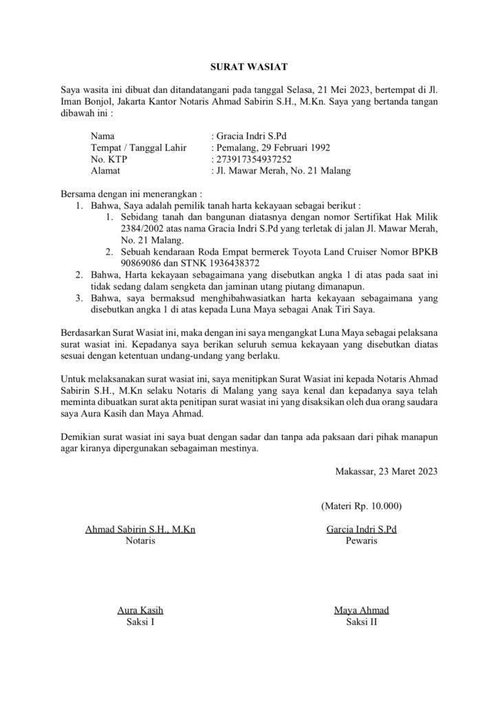 Contoh Surat Wasiat warisan dan hiba