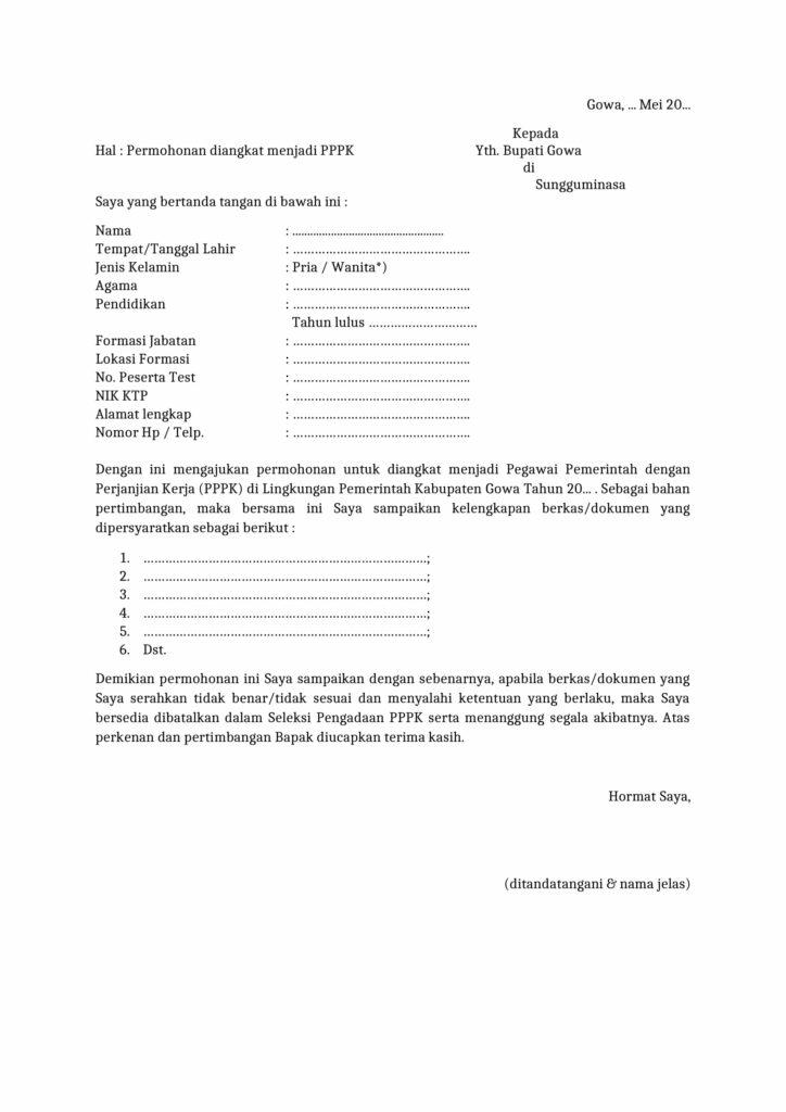 Contoh Surat Lamaran Kerja sebagai ASN Non PNS PPPK