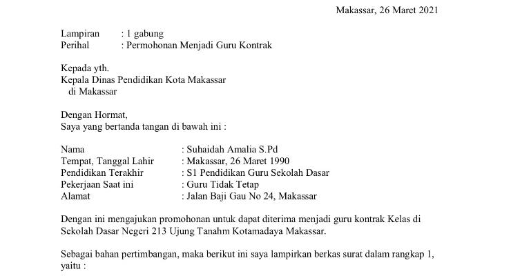Contoh Surat Lamarna Kerja Guru Kontrak