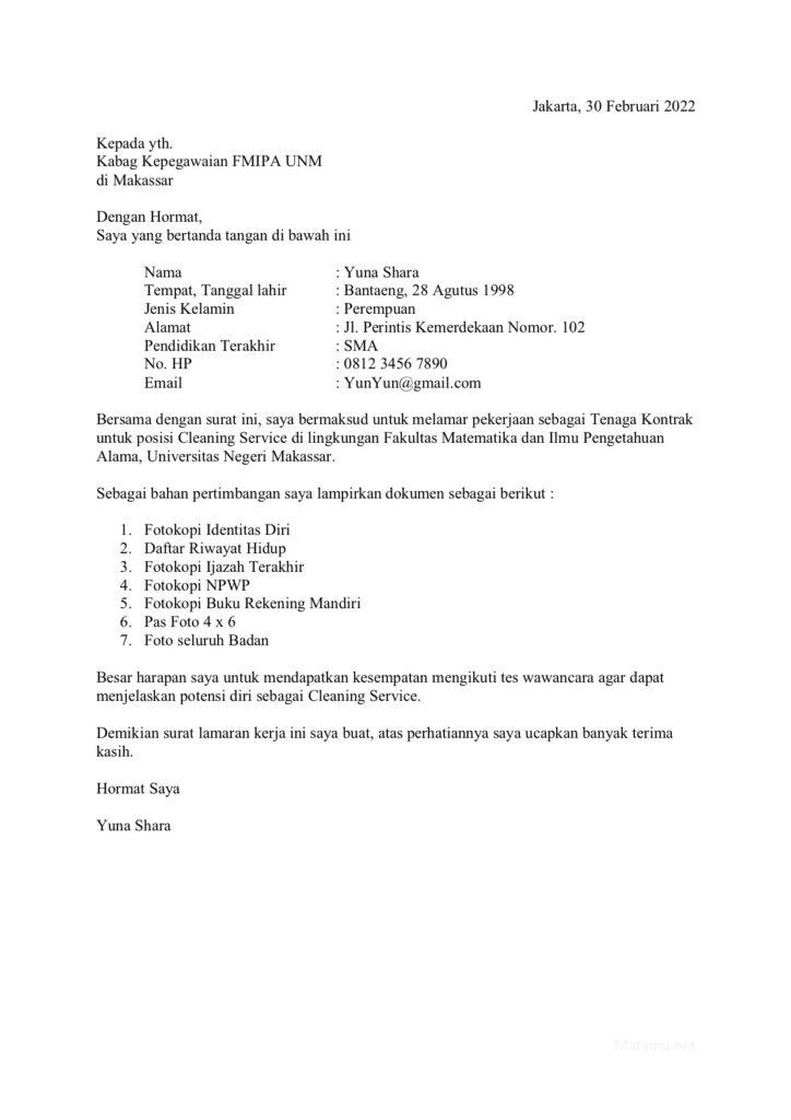 Contoh Surat Lamaran Kerja yang baik untuk Costumer Service