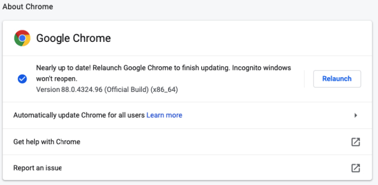 Status Update Browser Chorme