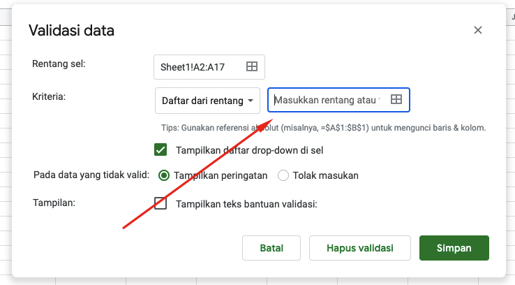 Kotak Dialog Menu Spreadsheet di Excel