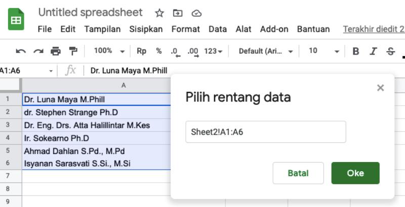 Data Spreadsheet Google Validation