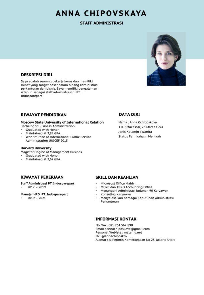 Contoh CV kreativ Staff Administrasi Kantor Bisnis Kreatif