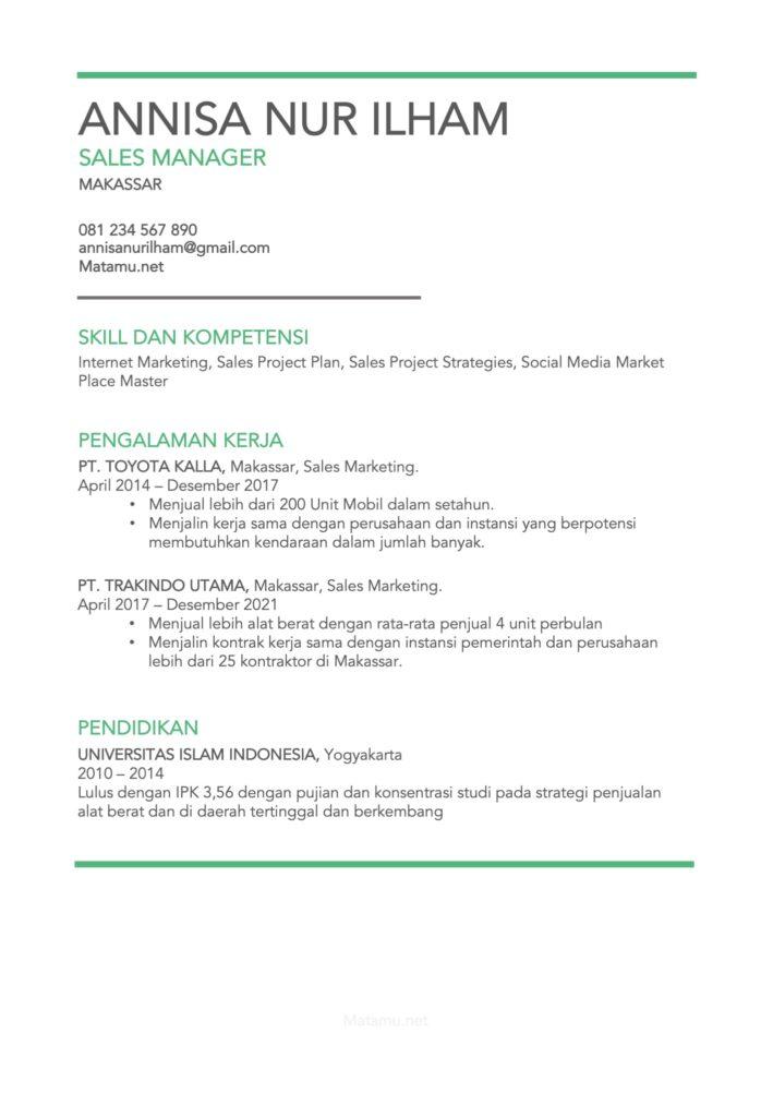 Sales CV untuk Posisi Executive