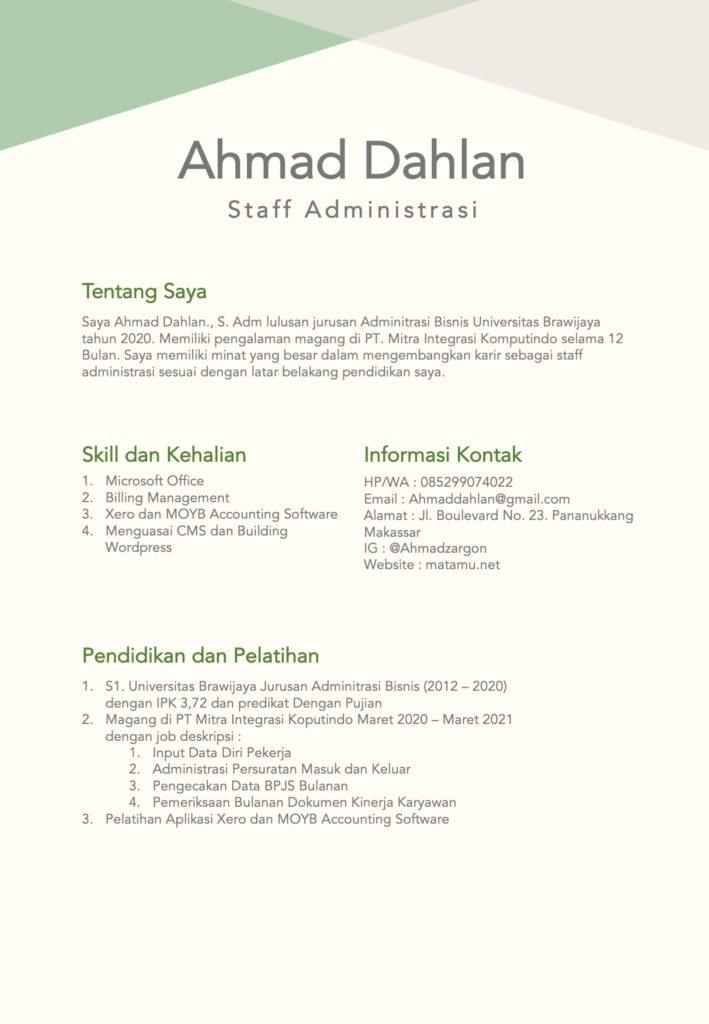 Conoth Desain CV kreatif untuk Staff Adminitrasi Perkantoran