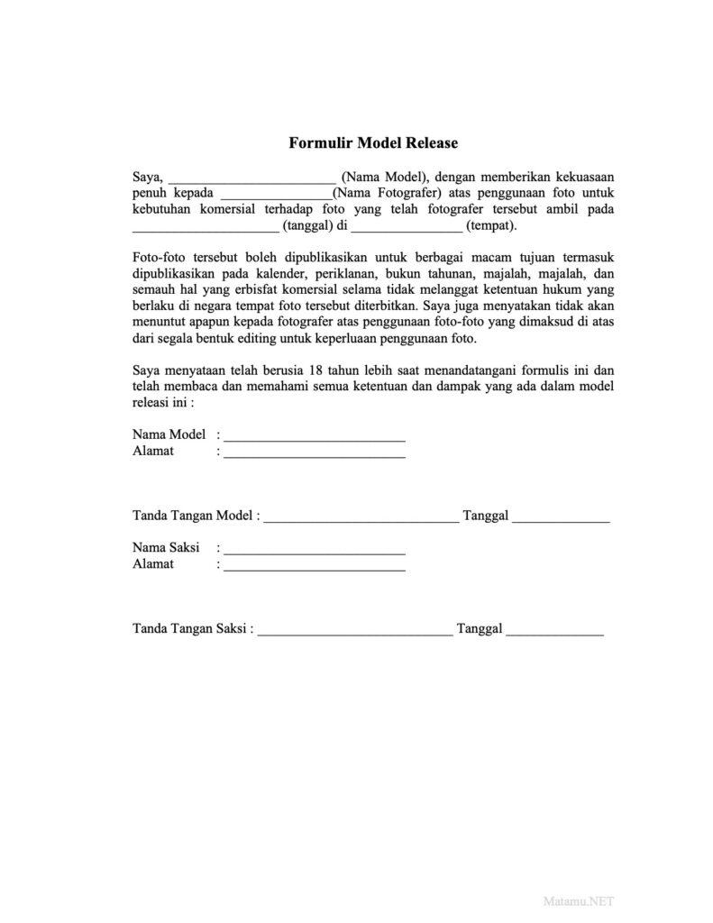 Contoh Formulir Model Release dalam Bahasa Indonesia