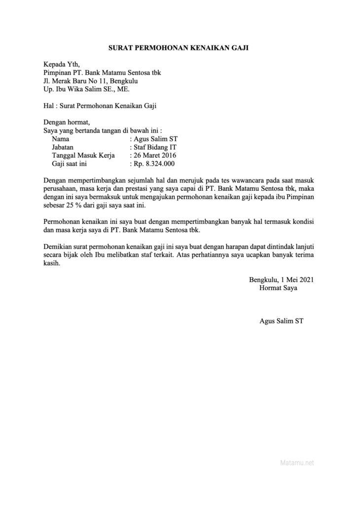 Contoh Surat Permohonan Kenaikan Gaji di Perusahaan Swasta