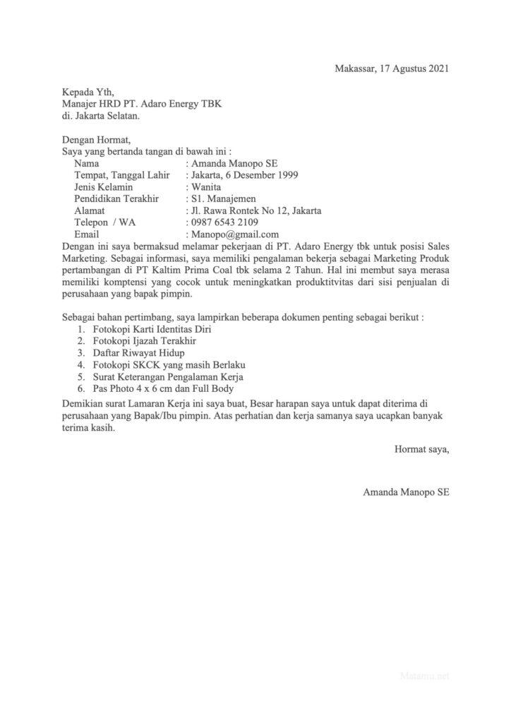 Contoh Surat Lamaran Pekerjaan Untuk Divisi Marketing