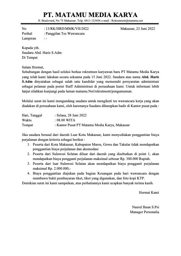 Contoh Surat Panggilan Wawancara Kerja Perusahaan