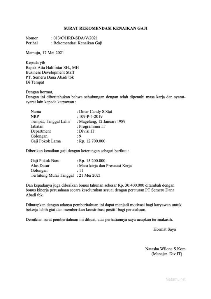 Contoh Surat Rekomenadi Kenaikan Gaji Karyawan Terabaru Perusahaan Sawasta