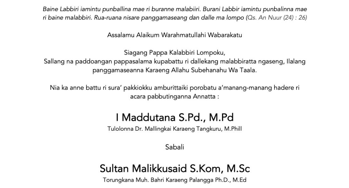 Contoh Surat Undangan Pernikahan dalam Bahasa Makassar