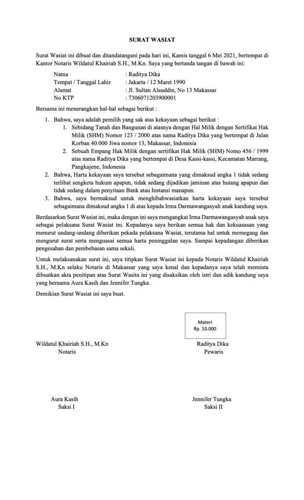 Contoh dan Cara membuat Surat Wasiat