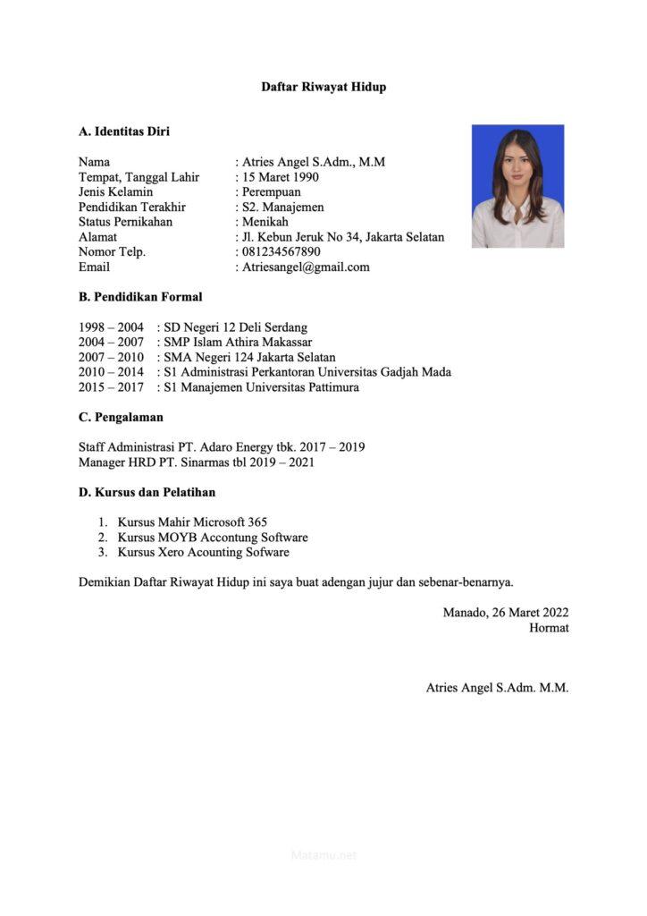 Contoh Daftar Riwayat Hidup CV Formal untuk Posisi Manager