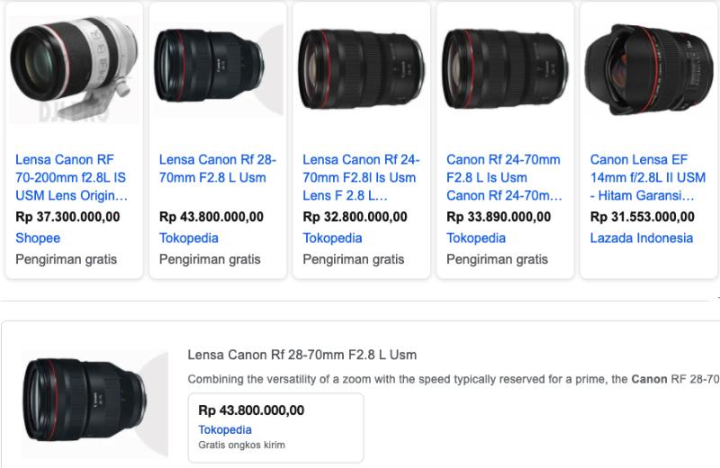 Deretan harga jual lensa fotografi canon premium ring merah